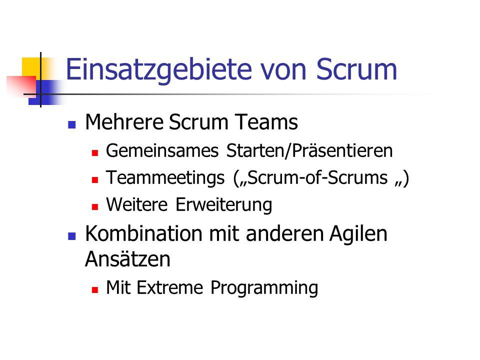 """Einsatzgebiete von Scrum Mehrere Scrum Teams Gemeinsames Starten/Präsentieren Teammeetings (""""Scrum-of-Scrums """") Weitere Erweiterung Kombination mit an"""