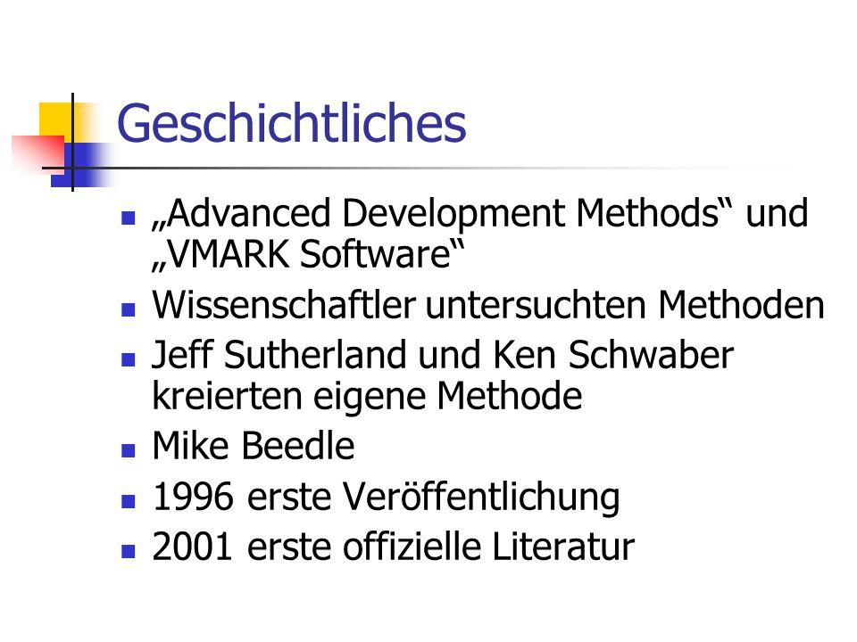 """Geschichtliches """"Advanced Development Methods"""" und """"VMARK Software"""" Wissenschaftler untersuchten Methoden Jeff Sutherland und Ken Schwaber kreierten e"""