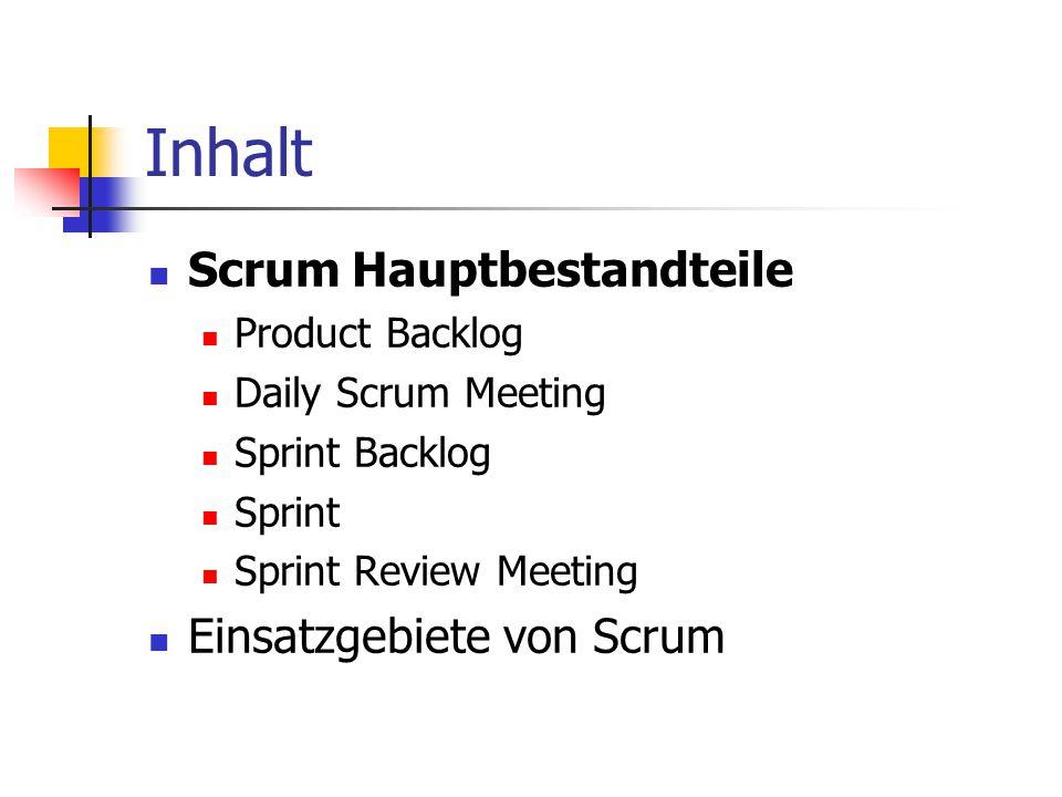 Inhalt Scrum Hauptbestandteile Product Backlog Daily Scrum Meeting Sprint Backlog Sprint Sprint Review Meeting Einsatzgebiete von Scrum