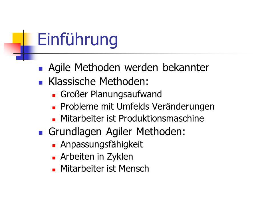 """Einführung Scrum, Ansammlung von Grundlagen zur Projektentwicklung Scrum Zertifizierungsmöglichkeit seit 2003 """"Scrum Alliance Komplexität der Aufgabe Projektteamgröße von 5-8 Personen"""
