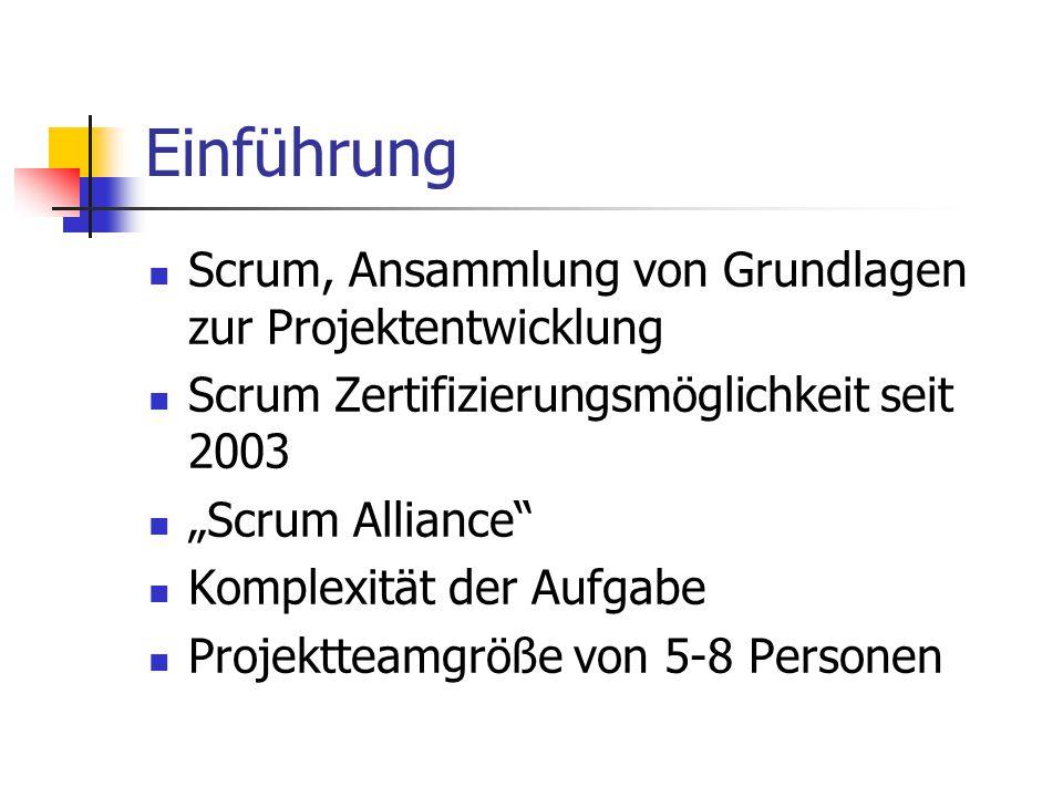 """Einführung Scrum, Ansammlung von Grundlagen zur Projektentwicklung Scrum Zertifizierungsmöglichkeit seit 2003 """"Scrum Alliance"""" Komplexität der Aufgabe"""