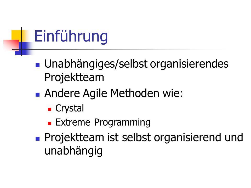 Einführung Unabhängiges/selbst organisierendes Projektteam Andere Agile Methoden wie: Crystal Extreme Programming Projektteam ist selbst organisierend
