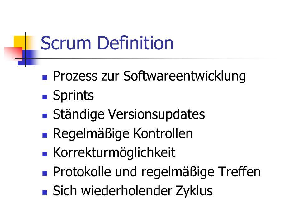 Scrum Definition Prozess zur Softwareentwicklung Sprints Ständige Versionsupdates Regelmäßige Kontrollen Korrekturmöglichkeit Protokolle und regelmäßi