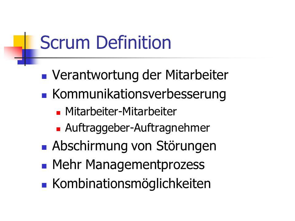 Scrum Definition Verantwortung der Mitarbeiter Kommunikationsverbesserung Mitarbeiter-Mitarbeiter Auftraggeber-Auftragnehmer Abschirmung von Störungen