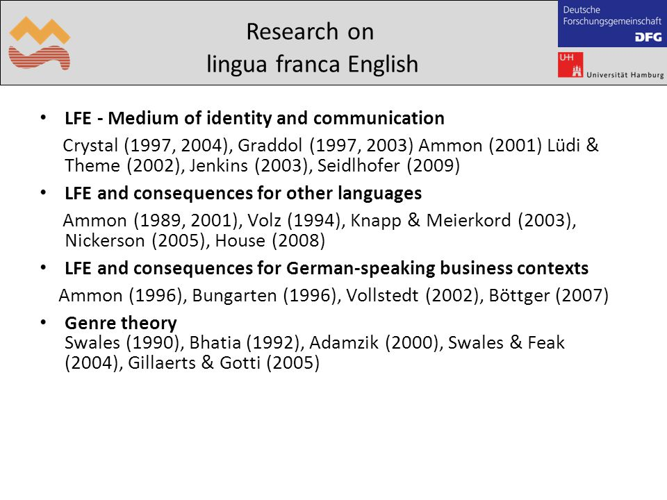 LFE - Medium of identity and communication Crystal (1997, 2004), Graddol (1997, 2003) Ammon (2001) Lüdi & Theme (2002), Jenkins (2003)‏, Seidlhofer (2009) LFE and consequences for other languages Ammon (1989, 2001), Volz (1994), Knapp & Meierkord (2003)‏, Nickerson (2005), House (2008) LFE and consequences for German-speaking business contexts Ammon (1996), Bungarten (1996), Vollstedt (2002), Böttger (2007) Genre theory Swales (1990), Bhatia (1992), Adamzik (2000), Swales & Feak (2004), Gillaerts & Gotti (2005) Research on lingua franca English