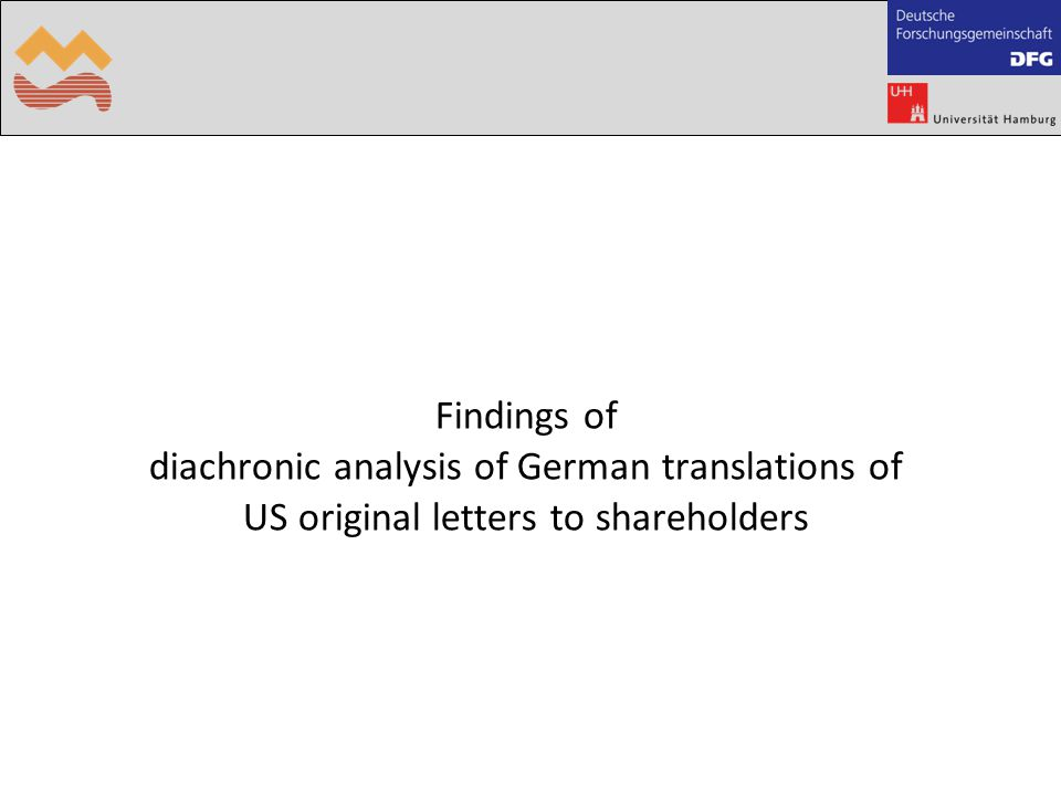 Findings of diachronic analysis of German translations of US original letters to shareholders