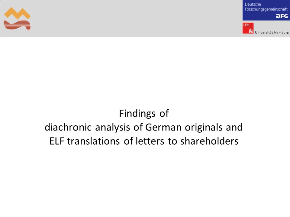 Findings of diachronic analysis of German originals and ELF translations of letters to shareholders