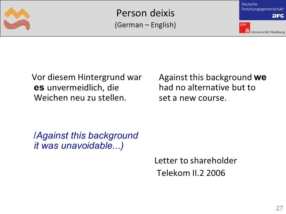 27 Person deixis (German – English) Vor diesem Hintergrund war es unvermeidlich, die Weichen neu zu stellen.