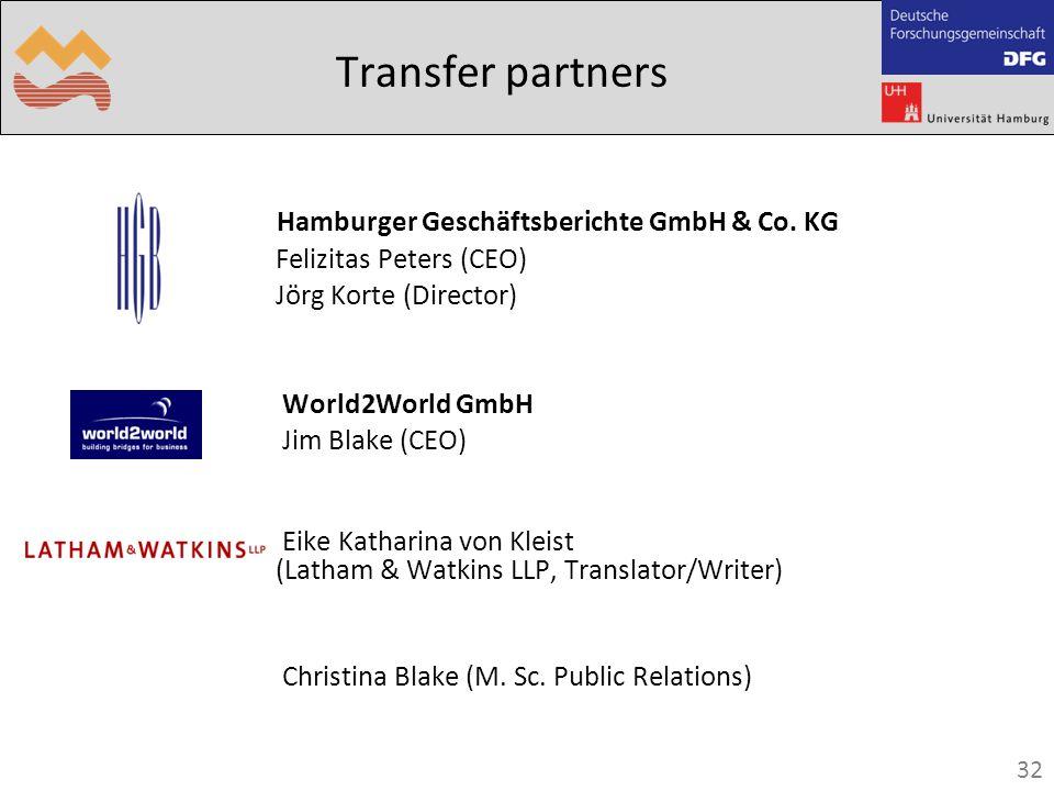 32 Transfer partners Hamburger Geschäftsberichte GmbH & Co.