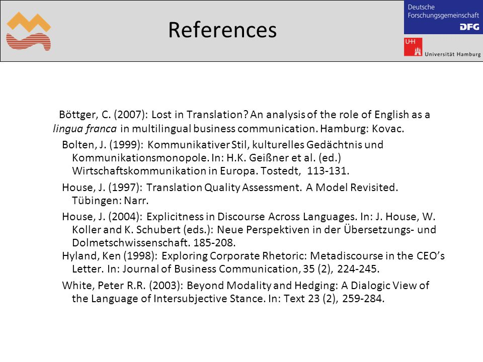 References Böttger, C. (2007): Lost in Translation? An analysis of the role of English as a lingua franca in multilingual business communication. Hamb
