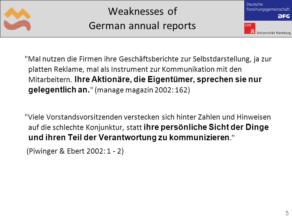 5 Weaknesses of German annual reports