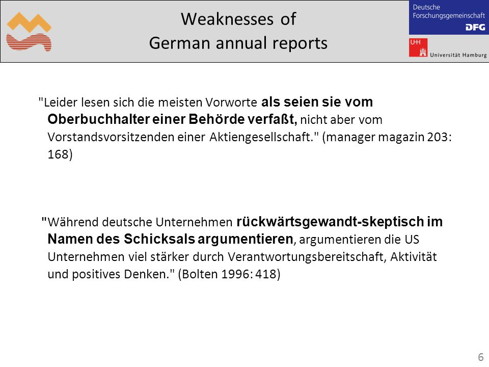 6 Weaknesses of German annual reports