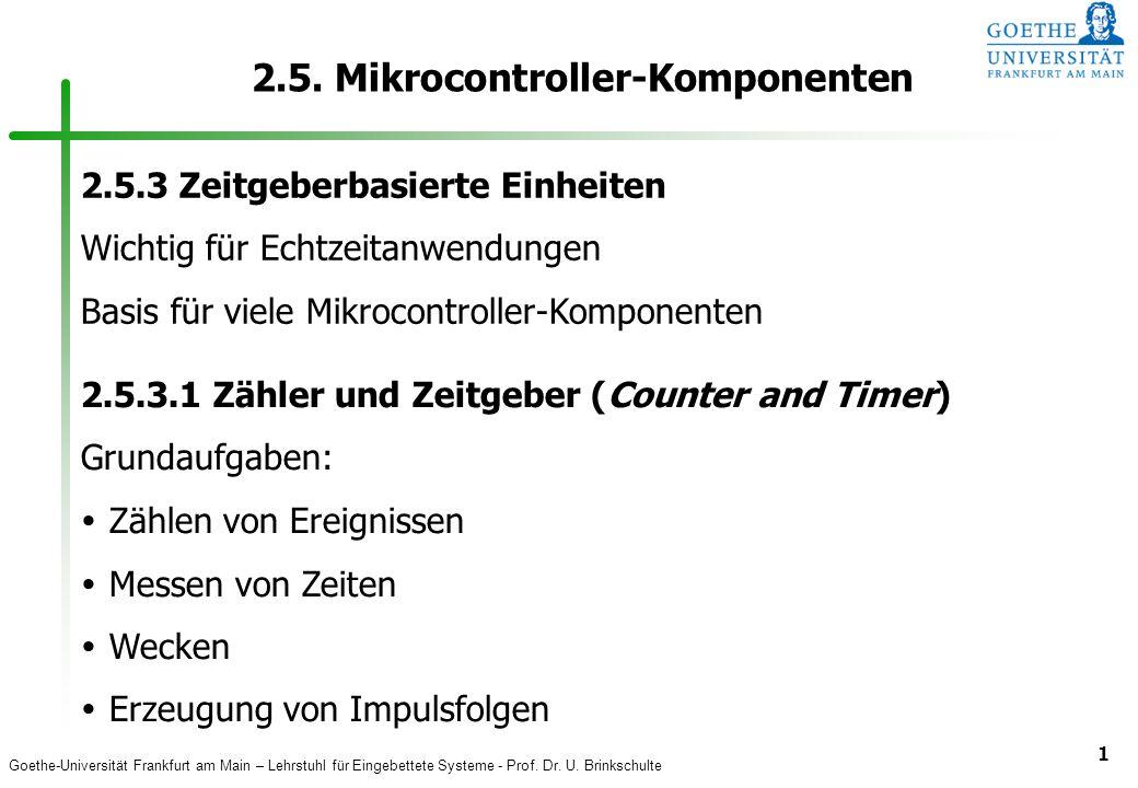Goethe-Universität Frankfurt am Main – Lehrstuhl für Eingebettete Systeme - Prof. Dr. U. Brinkschulte 1 2.5. Mikrocontroller-Komponenten 2.5.3 Zeitgeb
