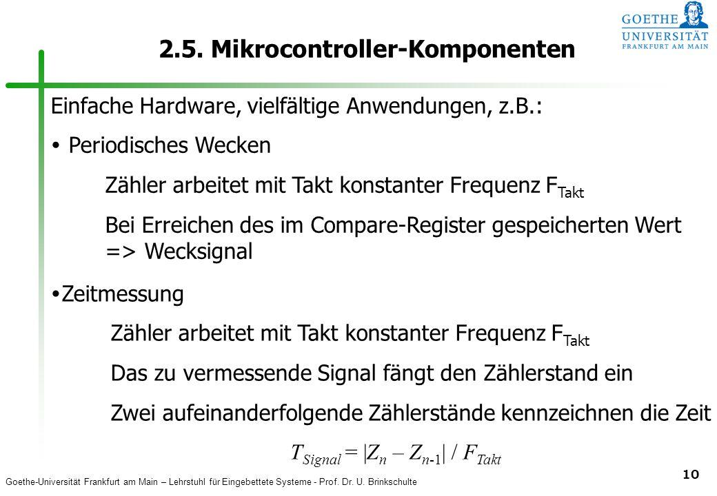 Goethe-Universität Frankfurt am Main – Lehrstuhl für Eingebettete Systeme - Prof. Dr. U. Brinkschulte 10 2.5. Mikrocontroller-Komponenten Einfache Har