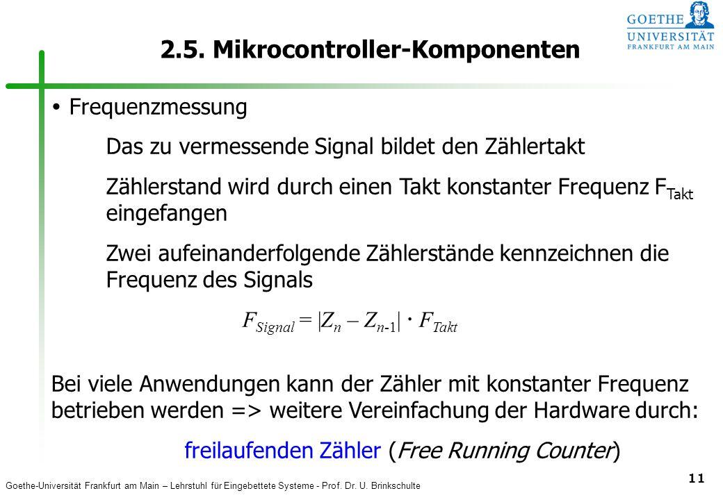 Goethe-Universität Frankfurt am Main – Lehrstuhl für Eingebettete Systeme - Prof. Dr. U. Brinkschulte 11 2.5. Mikrocontroller-Komponenten  Frequenzme