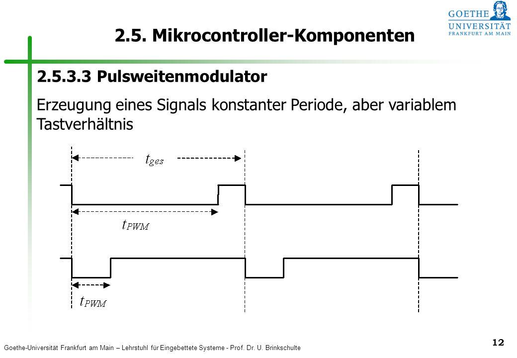 Goethe-Universität Frankfurt am Main – Lehrstuhl für Eingebettete Systeme - Prof. Dr. U. Brinkschulte 12 2.5. Mikrocontroller-Komponenten 2.5.3.3 Puls