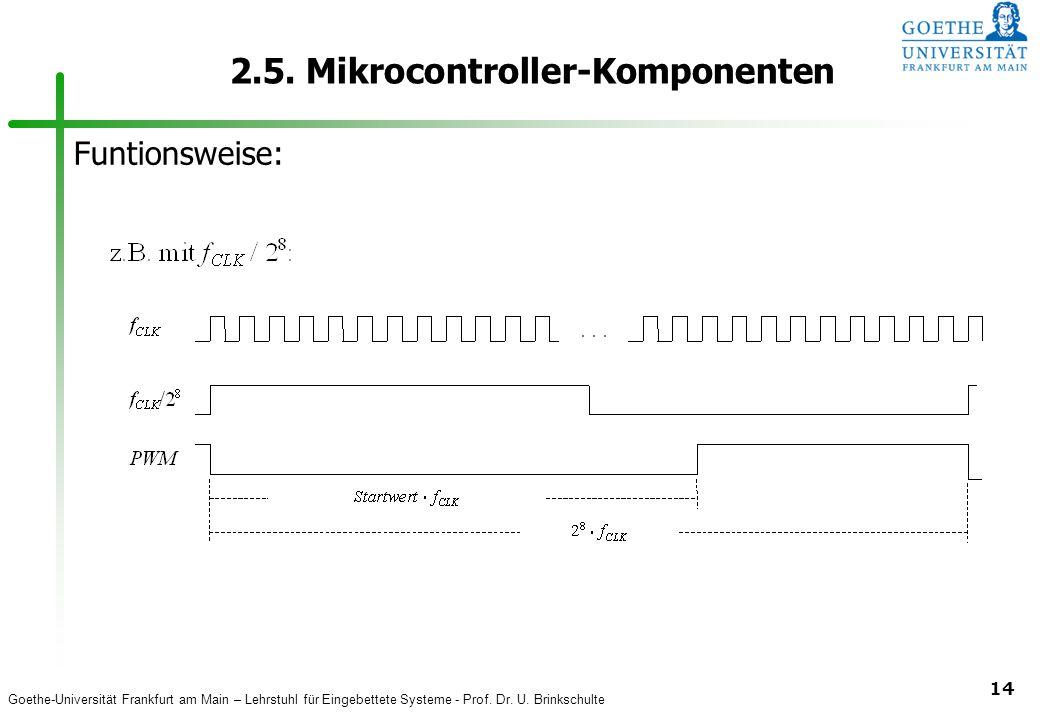 Goethe-Universität Frankfurt am Main – Lehrstuhl für Eingebettete Systeme - Prof. Dr. U. Brinkschulte 14 2.5. Mikrocontroller-Komponenten Funtionsweis