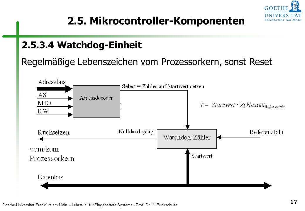 Goethe-Universität Frankfurt am Main – Lehrstuhl für Eingebettete Systeme - Prof. Dr. U. Brinkschulte 17 2.5. Mikrocontroller-Komponenten 2.5.3.4 Watc
