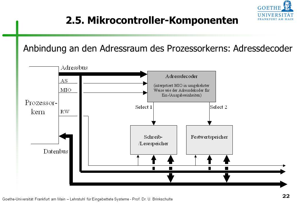 Goethe-Universität Frankfurt am Main – Lehrstuhl für Eingebettete Systeme - Prof. Dr. U. Brinkschulte 22 2.5. Mikrocontroller-Komponenten Anbindung an