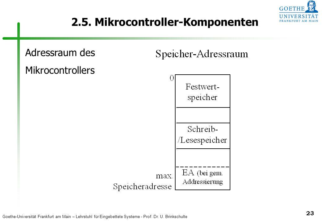 Goethe-Universität Frankfurt am Main – Lehrstuhl für Eingebettete Systeme - Prof. Dr. U. Brinkschulte 23 2.5. Mikrocontroller-Komponenten Adressraum d