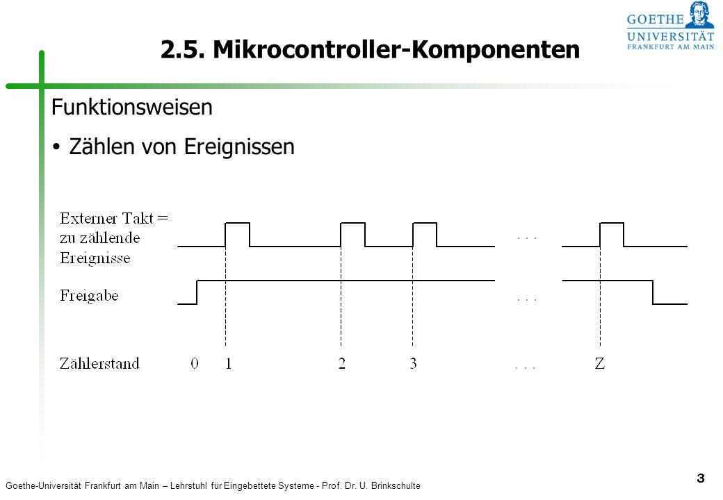 Goethe-Universität Frankfurt am Main – Lehrstuhl für Eingebettete Systeme - Prof. Dr. U. Brinkschulte 3 2.5. Mikrocontroller-Komponenten Funktionsweis