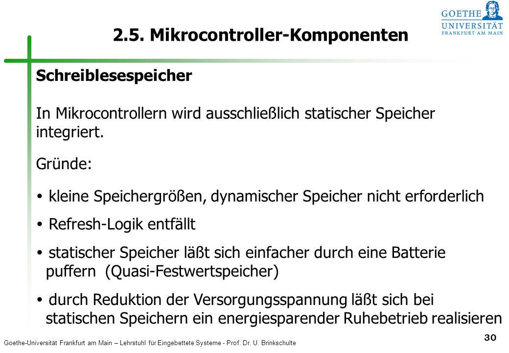 Goethe-Universität Frankfurt am Main – Lehrstuhl für Eingebettete Systeme - Prof. Dr. U. Brinkschulte 30 2.5. Mikrocontroller-Komponenten Schreibleses