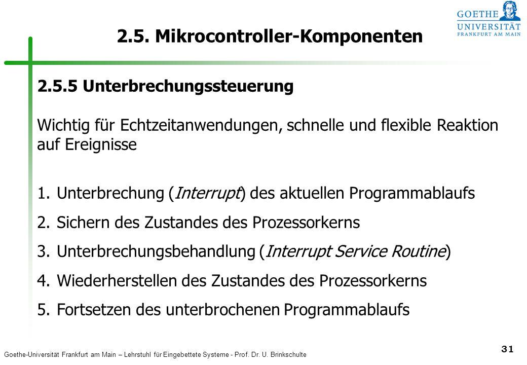 Goethe-Universität Frankfurt am Main – Lehrstuhl für Eingebettete Systeme - Prof. Dr. U. Brinkschulte 31 2.5. Mikrocontroller-Komponenten 2.5.5 Unterb