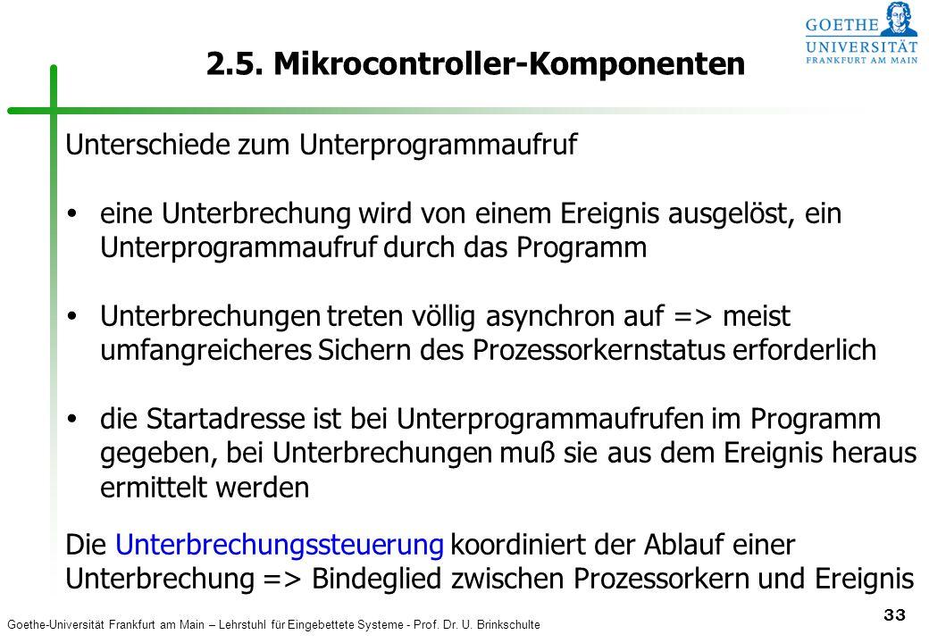 Goethe-Universität Frankfurt am Main – Lehrstuhl für Eingebettete Systeme - Prof. Dr. U. Brinkschulte 33 2.5. Mikrocontroller-Komponenten Unterschiede