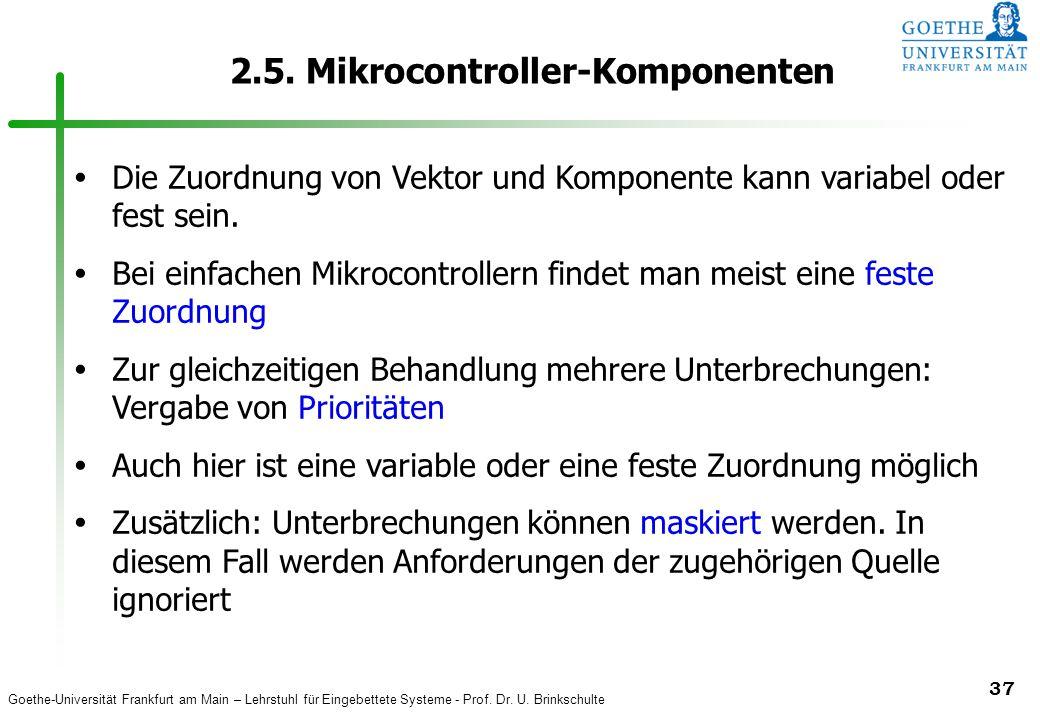 Goethe-Universität Frankfurt am Main – Lehrstuhl für Eingebettete Systeme - Prof. Dr. U. Brinkschulte 37 2.5. Mikrocontroller-Komponenten  Die Zuordn
