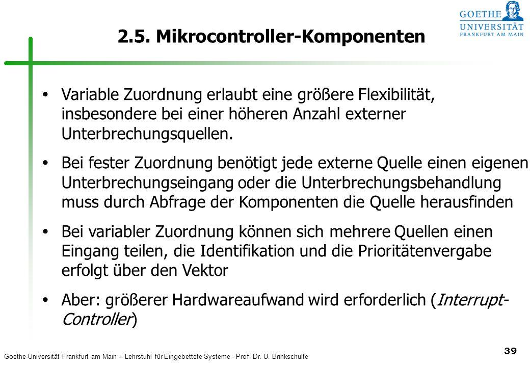 Goethe-Universität Frankfurt am Main – Lehrstuhl für Eingebettete Systeme - Prof. Dr. U. Brinkschulte 39 2.5. Mikrocontroller-Komponenten  Variable Z