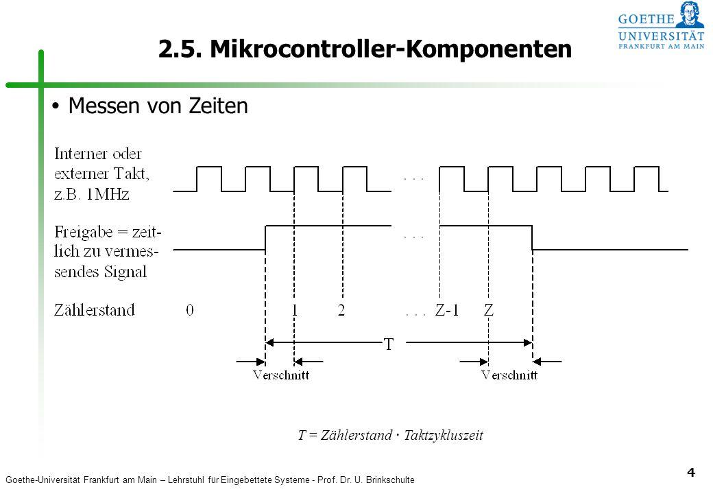 Goethe-Universität Frankfurt am Main – Lehrstuhl für Eingebettete Systeme - Prof. Dr. U. Brinkschulte 4 2.5. Mikrocontroller-Komponenten  Messen von