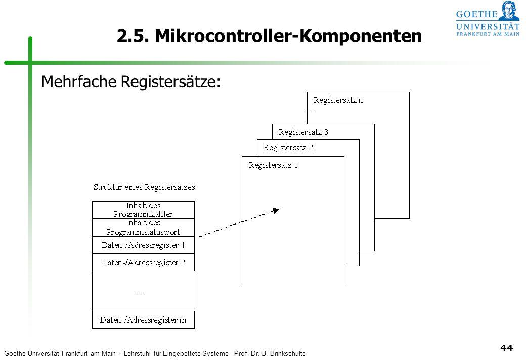 Goethe-Universität Frankfurt am Main – Lehrstuhl für Eingebettete Systeme - Prof. Dr. U. Brinkschulte 44 2.5. Mikrocontroller-Komponenten Mehrfache Re