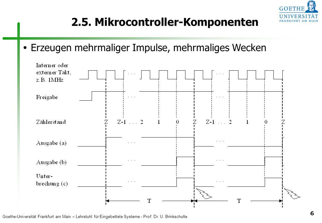 Goethe-Universität Frankfurt am Main – Lehrstuhl für Eingebettete Systeme - Prof. Dr. U. Brinkschulte 6 2.5. Mikrocontroller-Komponenten  Erzeugen me