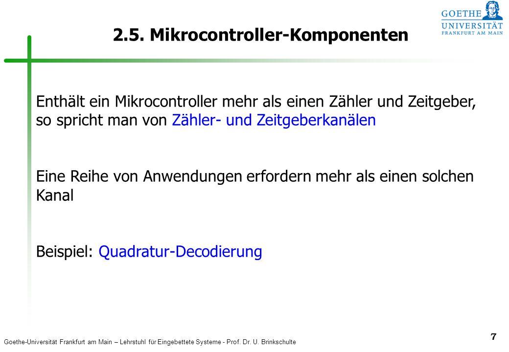 Goethe-Universität Frankfurt am Main – Lehrstuhl für Eingebettete Systeme - Prof. Dr. U. Brinkschulte 7 2.5. Mikrocontroller-Komponenten Enthält ein M