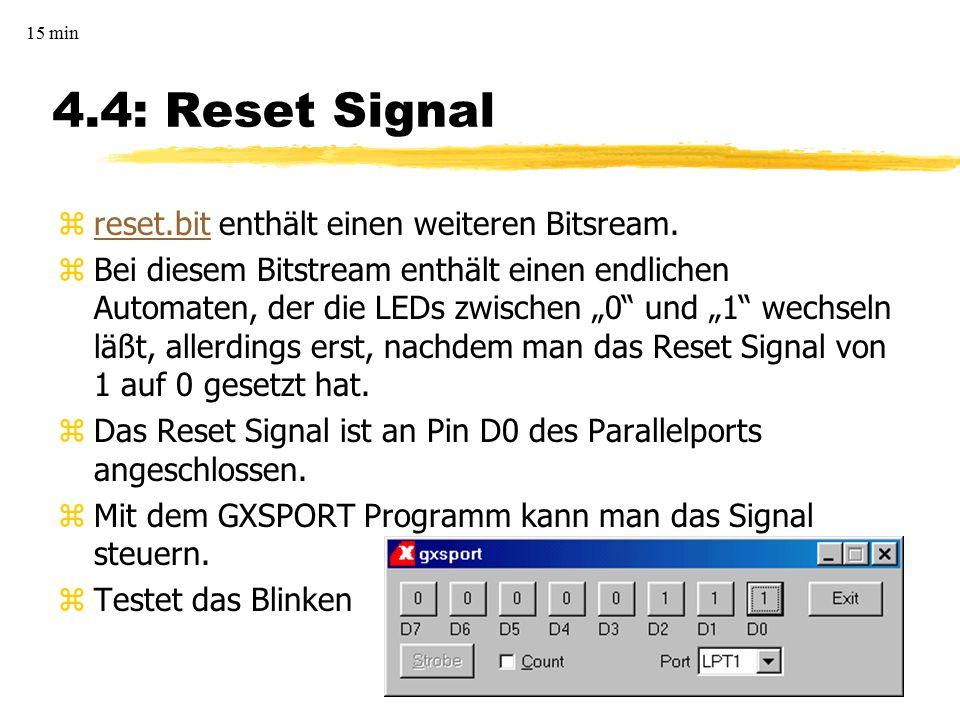 4.4: Reset Signal zreset.bit enthält einen weiteren Bitsream.reset.bit zBei diesem Bitstream enthält einen endlichen Automaten, der die LEDs zwischen