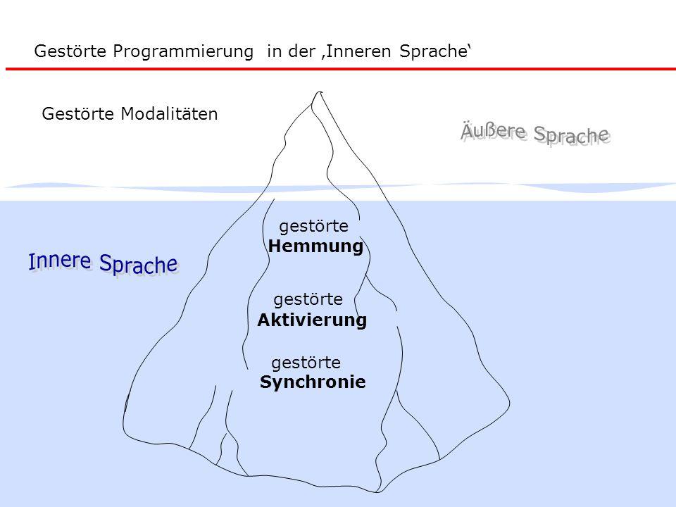 gestörte Hemmung gestörte Synchronie Gestörte Programmierung in der 'Inneren Sprache' gestörte Aktivierung Gestörte Modalitäten
