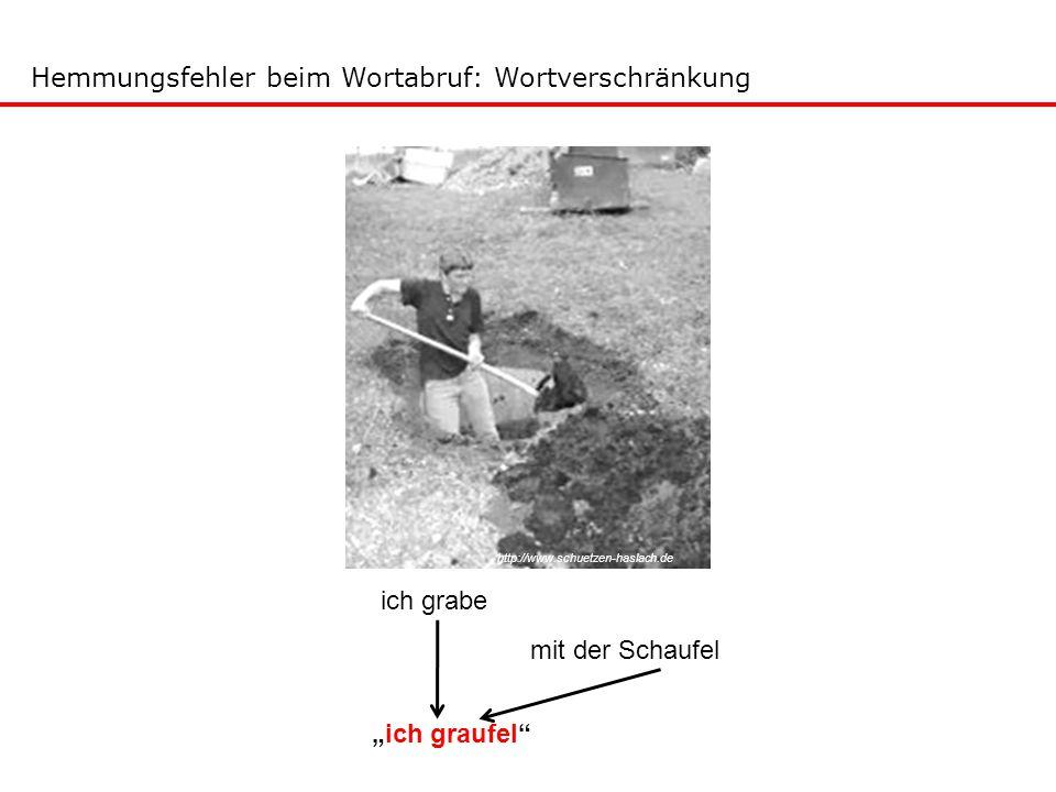 """ich grabe mit der Schaufel """"ich graufel"""" http://www.schuetzen-haslach.de Hemmungsfehler beim Wortabruf: Wortverschränkung"""
