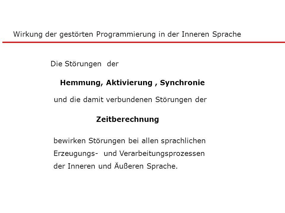 Die Störungen der Hemmung, Aktivierung, Synchronie und die damit verbundenen Störungen der Zeitberechnung bewirken Störungen bei allen sprachlichen Er