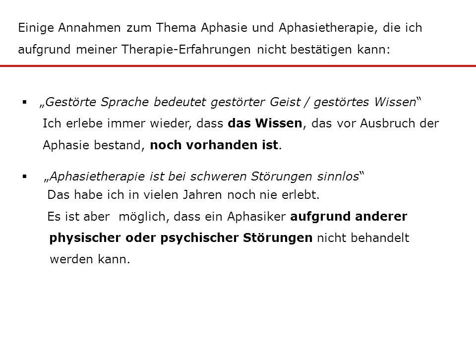 """Einige Annahmen zum Thema Aphasie und Aphasietherapie, die ich aufgrund meiner Therapie-Erfahrungen nicht bestätigen kann:  """"Gestörte Sprache bedeute"""