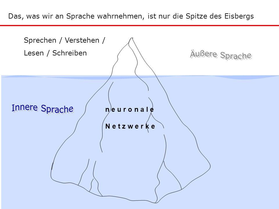 Sprechen / Verstehen / Lesen / Schreiben n e u r o n a l e N e t z w e r k e Das, was wir an Sprache wahrnehmen, ist nur die Spitze des Eisbergs