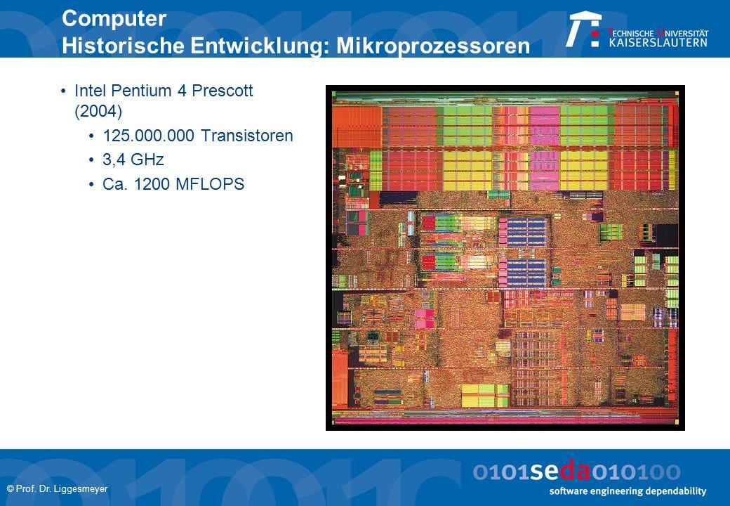 © Prof. Dr. Liggesmeyer Computer Historische Entwicklung: Mikroprozessoren Intel Pentium 4 Prescott (2004) 125.000.000 Transistoren 3,4 GHz Ca. 1200 M