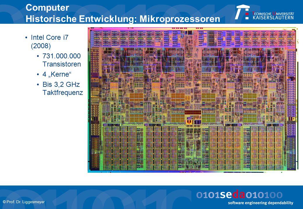 """© Prof. Dr. Liggesmeyer Computer Historische Entwicklung: Mikroprozessoren Intel Core i7 (2008) 731.000.000 Transistoren 4 """"Kerne"""" Bis 3,2 GHz Taktfre"""