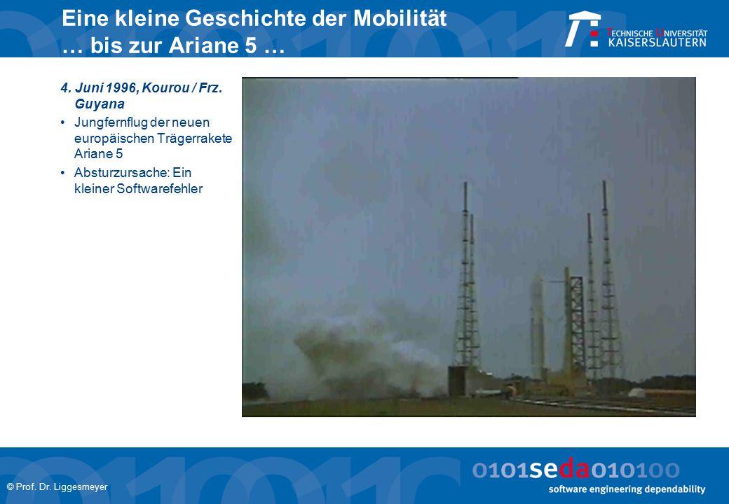 © Prof. Dr. Liggesmeyer Eine kleine Geschichte der Mobilität … bis zur Ariane 5 … 4. Juni 1996, Kourou / Frz. Guyana Jungfernflug der neuen europäisch