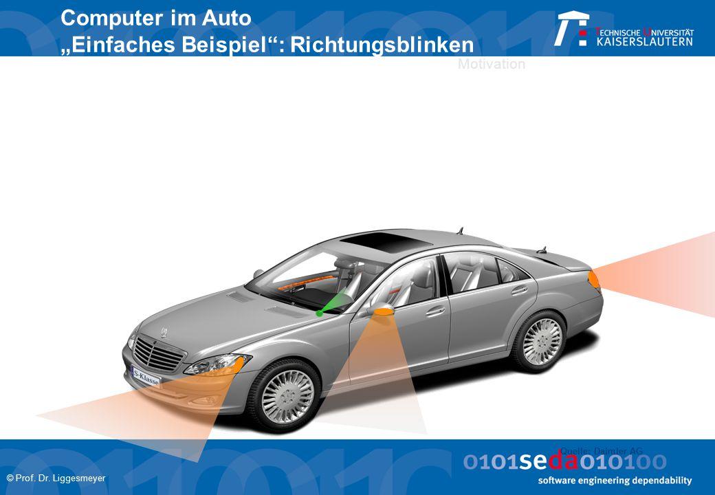 """© Prof. Dr. Liggesmeyer Motivation Computer im Auto """"Einfaches Beispiel"""": Richtungsblinken Quelle: Daimler AG"""