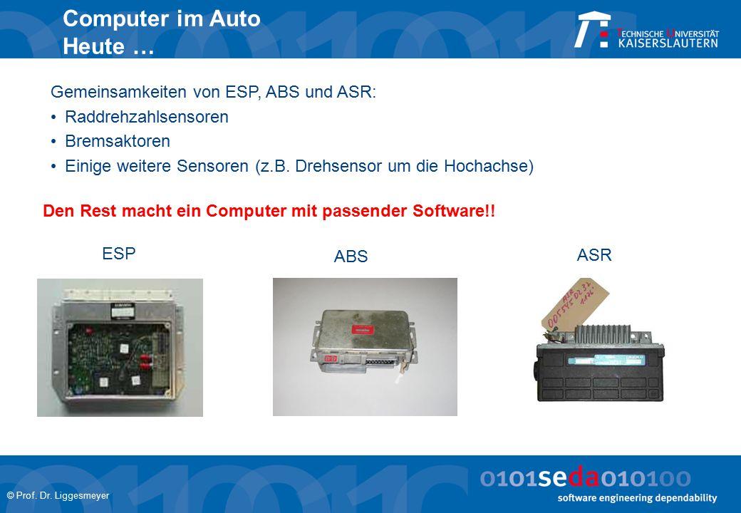 © Prof. Dr. Liggesmeyer Computer im Auto Heute … Gemeinsamkeiten von ESP, ABS und ASR: Raddrehzahlsensoren Bremsaktoren Einige weitere Sensoren (z.B.