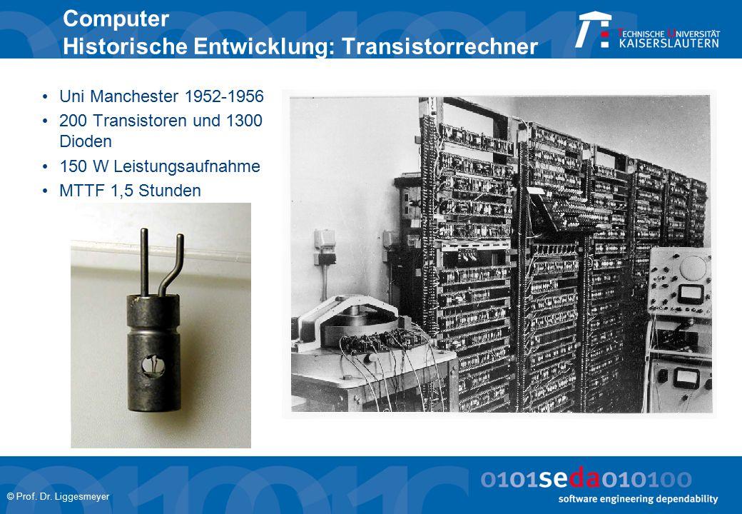 © Prof. Dr. Liggesmeyer Computer Historische Entwicklung: Transistorrechner Uni Manchester 1952-1956 200 Transistoren und 1300 Dioden 150 W Leistungsa