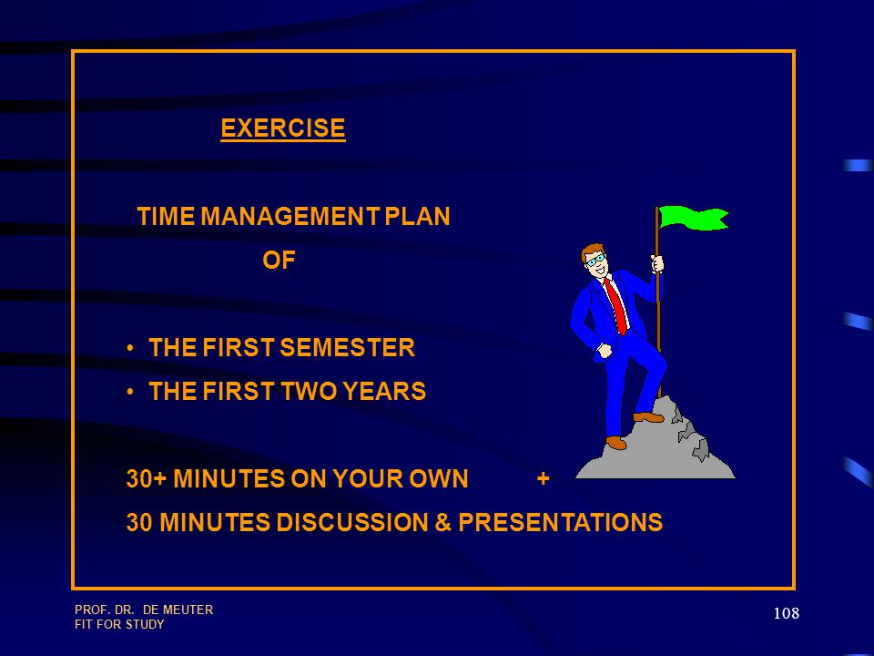 PROF. DR. DE MEUTER FIT FOR STUDY 107 SEMESTER PLAN LECTURES =30 SWS PREPARATION & CONSOLIDATION = 30 SWS SPORT ( 3 TIMES A WEEK … ) TEAM WORK ( CERTA