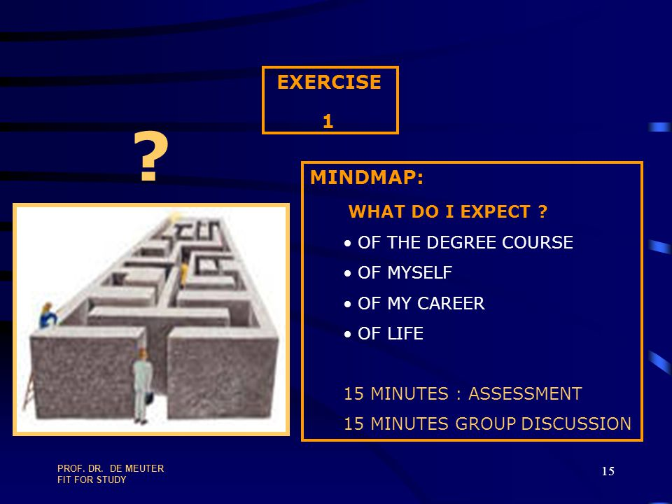 PROF. DR. DE MEUTER FIT FOR STUDY 14 TWO FUNDAMENTAL QUESTIONS WHAT DO I EXPECT ? OF THE DEGREE COURSE OF MYSELF OF MY CAREER OF LIFE WHAT IS EXPECTED