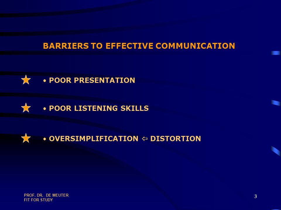 PROF.DR. DE MEUTER FIT FOR STUDY 93 PLANNING & TIME MANAGEMENT IN TEN STEPS 1.