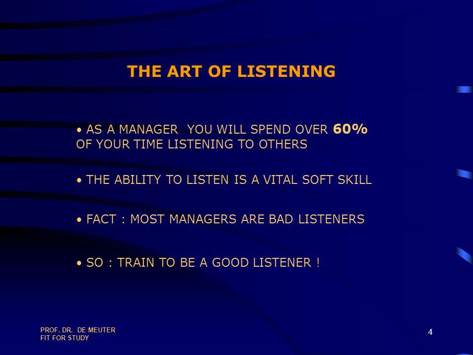 PROF.DR. DE MEUTER FIT FOR STUDY 94 PLANNING & TIME MANAGEMENT IN TEN STEPS 4.